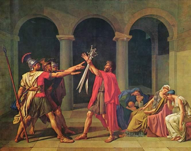 Jacques-Louis David, Il giuramento degli Orazi. Olio su tela, 1784. Paris, Musée du Louvre.