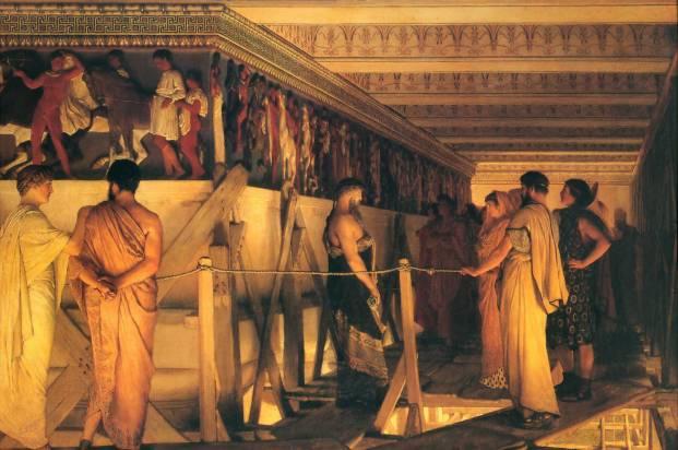Lawrence Alma-Tadema, Fidia mostra i fregi del Partenone agli amici. Olio su tela, 1868. Birmingham Museum and Art Gallery.