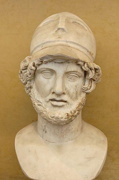 Pericle con elmo corinzio. Busto, marmo, copia romana da originale greco. Roma, Museo Chiaramonti, Musei Vaticani.