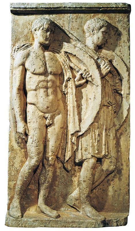 Stele funeraria degli opliti Chairedemos e Lykeas. Marmo pario, 420 a.C. ca. da Salamina. Pireo, Museo Archeologico Nazionale