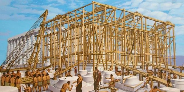 Il cantiere del Partenone. Illustrazione di Y. Lee.