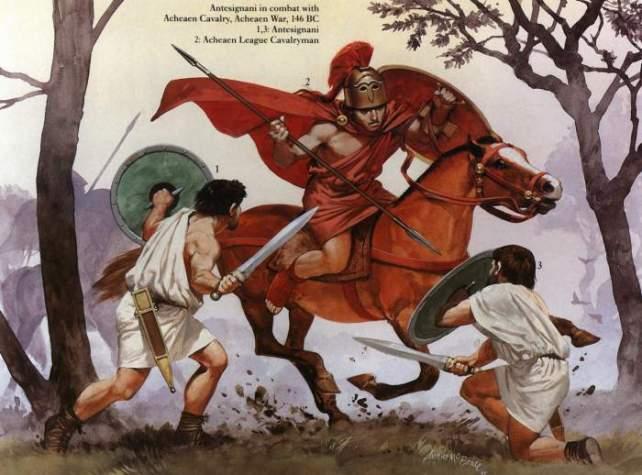Due milites antesignani contro la cavalleria achea (146 a.C.). Illustrazione di A. McBride.