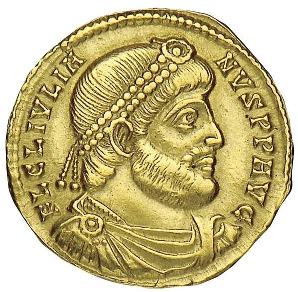 Giuliano. Solidus, Sirmium, 361 d.C. Au. 4,41 gr. Recto. Busto barbato, diademato con perle e paludato, voltato a destra, dell'imperatore. Legenda: Fl(avius) Iulianus p(ater) p(atriae) Aug(ustus).
