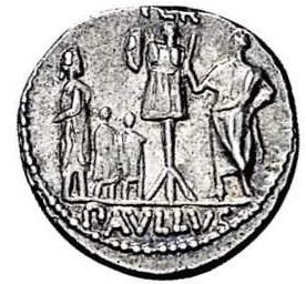 l. emilio paolo. denario, roma 146 a.c. r – trofeo con armi macedoni e prigionieri.