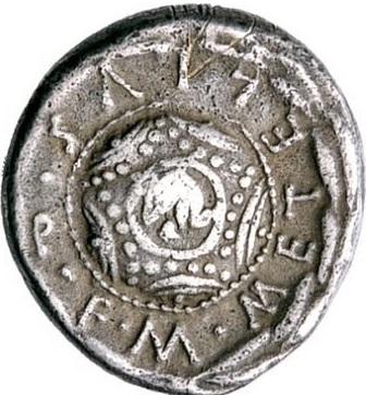 M. Cecilio Metello. Denario, Roma 127 a.C. Ar. 3,81 gr. Rovescio: M(arcus) Metellus Q(uincti) f(ilius). Scudo macedone con testa di elefante iscritta nel centro, contornato da una corona d'alloro.