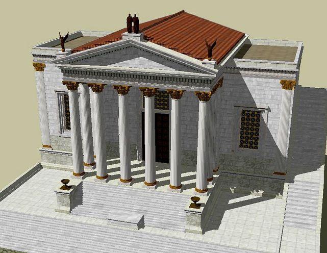 Ricostruzione assiometrica del tempio di Concordia, Roma.
