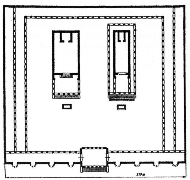 ricostruzione planimetrica della porticus metelli, con i templi di giove statore e di giunone regina (di pierre gros).