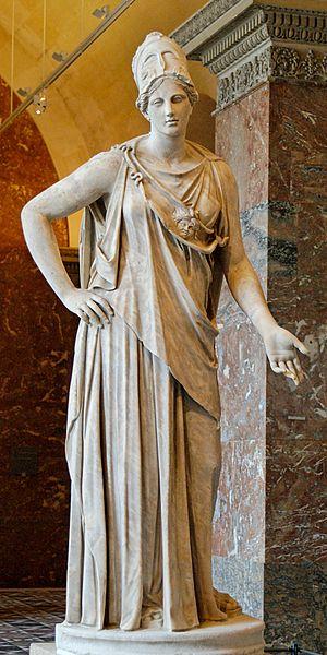 Statua romana detta 'Atena Mattei', copia romana da un originale di Cefisodoto del IV secolo a.C. in bronzo. Marmo, 230 cm, I secolo a.C. Musée du Louvre, Parigi.