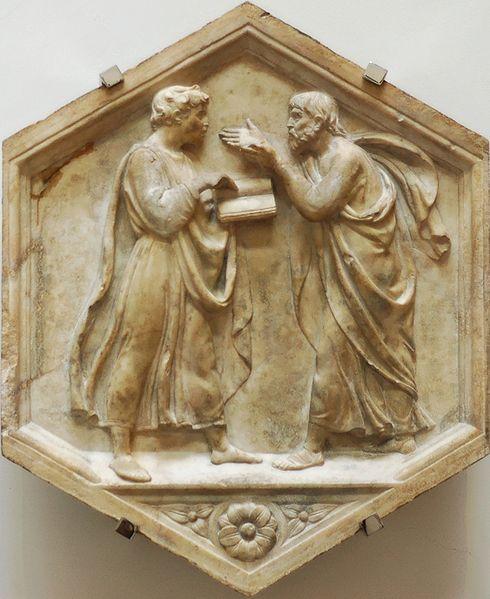 Luca della Robbia, Dibattito fra Platone e Aristotele, o 'Filosofia'. Marmo dal lato nord del campanile di Firenze (basamento inferiore), 1437-1439. Firenze, Museo dell'Opera del Duomo.