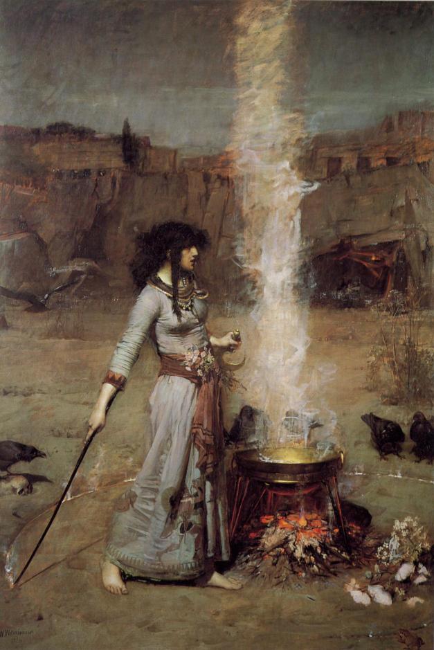 John William Waterhouse, Il cerchio magico. Olio su tela, 1886.