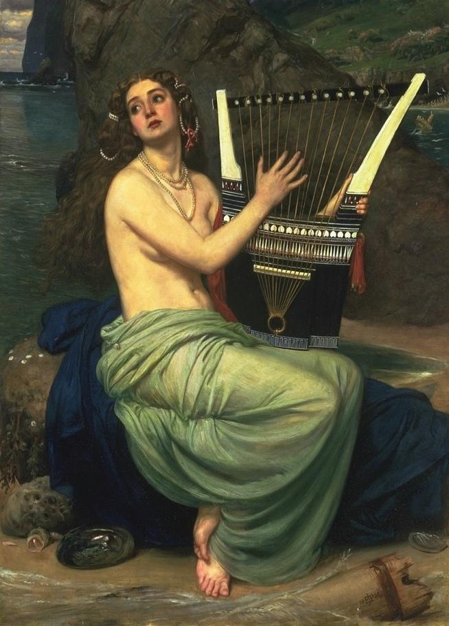 Edward Poynter, La sirena. Olio su tela, 1864.