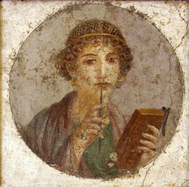 Donna con tavolette cerate e stilo (Saffo?). Affresco pompeiano, 50 a.C. ca. dall'Insula Occidentale VI. Napoli, Museo Archeologico Nazionale