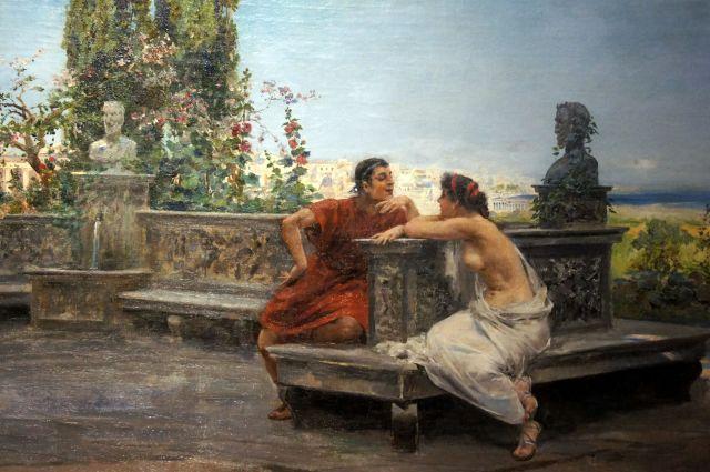 Ulpiano Checa, Innamorati a Pompei. Olio su tela, 1890.jpg