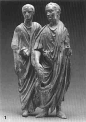 Due personaggi togati (forse magistrati). Statuetta, bronzo, I sec. d.C. Getty Museum