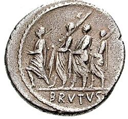 M. Giunio Bruto. Denario, Ar. 54 a.C. Roma. V - BRVTVS in ex, il console fra due littori preceduti da un accensus, in processione verso sinistra