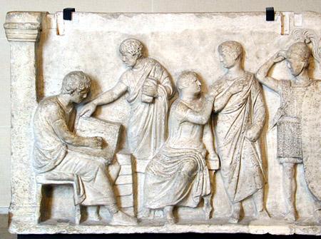 Magistrato intento al census (dettaglio). Bassorilievo, marmo, II sec. a.C., dall_Ara di Domizio Enobarbo (Campo Marzio, Roma). Musée du Louvre
