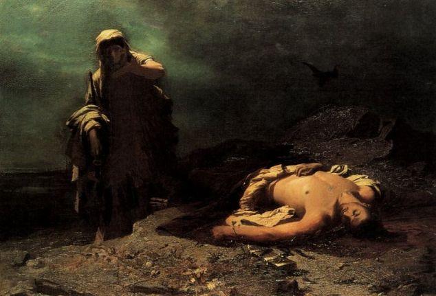 Nikiphoros Lytras, Antigone di fronte al cadavere di Polinice. Olio su tela, 1865. Galleria Nazionale di Atene