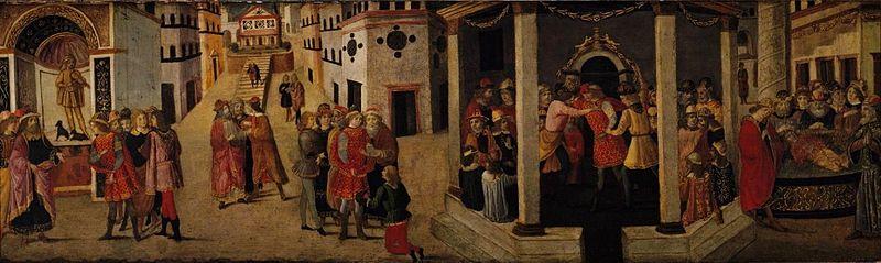 Maestro di Marradi. L'assassinio di Giulio Cesare. Affresco, 1475-1500. Spencer Museum of Art, University of Kansas