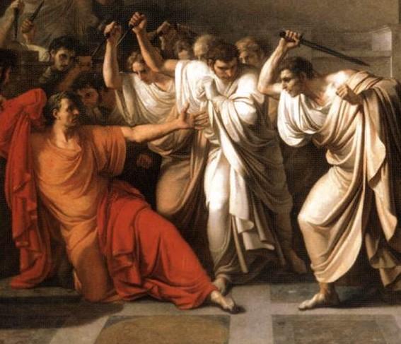 Vincenzo Camuccini, La morte di Cesare. Olio su tela, 1804-1805. Galleria Nazionale d'Arte Moderna di Roma
