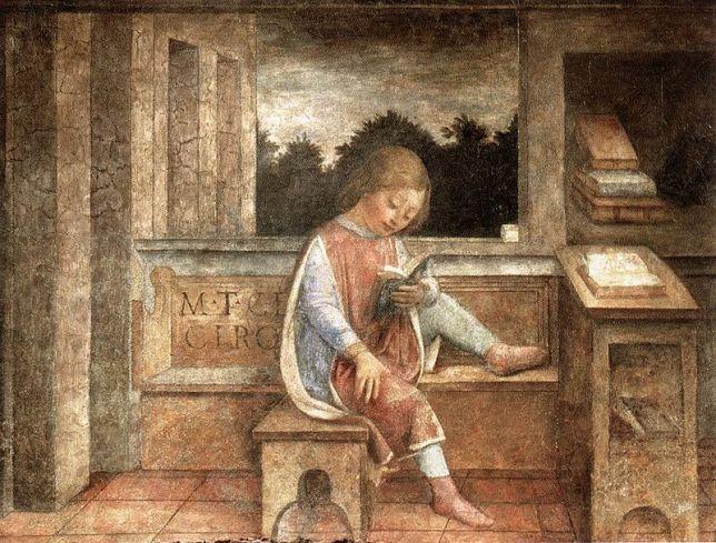 Vincenzo Foppa, Fanciullo che legge Cicerone. Affresco, 1464, dal Banco Mediceo di Milano. London, Wallace Collection.