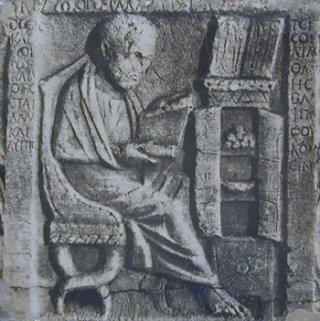 Letterato. Rilievo, marmo, III-IV sec. d.C. Museo della Civiltà romana