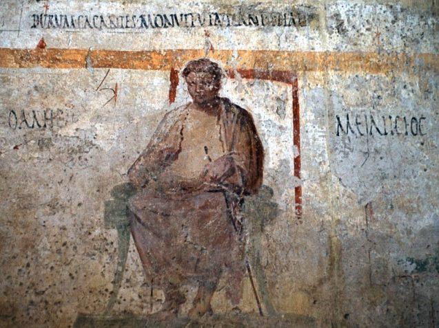 Filosofo. Affresco, I sec. d.C., dalle Terme dei Sette Sapienti (Ostia).