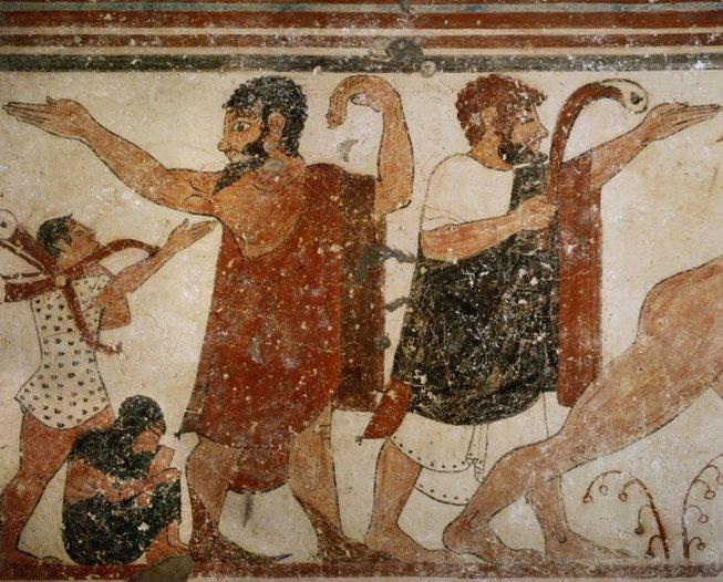 giudice e indovino (dettaglio). affresco etrusco, 540-530 a.c. ca., dalla tomba degli auguri (parete destra, necropoli di monterozzi, tarquinia)