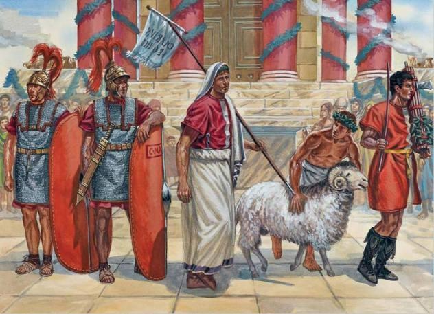 Scena di sacrificio. Illustrazione di G. Rava.