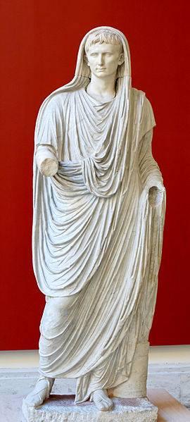 Statua di Augusto in veste di Pontifex Maximus (detta 'l'Augusto di Via Labicana'). Marmo greco e italico, 90-100 d.C. Roma, Museo Nazionale di P.zzo Massimo alle Terme.