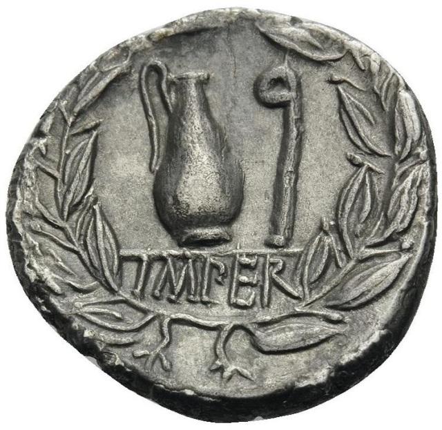 q. cecilio metello pio. denario, italia settentrionale, 81 a.c. ar 3, 54 gr. r – brocca e lituo con leggenda imper(atori) iscritti in una corona d_alloro