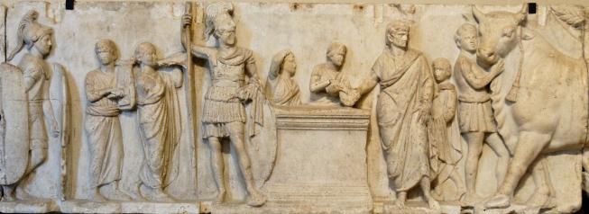 scena di attività pubblica, con sacrificio e census. bassorilievo, marmo, ii sec. a.c., dall_ara di domizio enobarbo (campo marzio, roma). musée du louvre