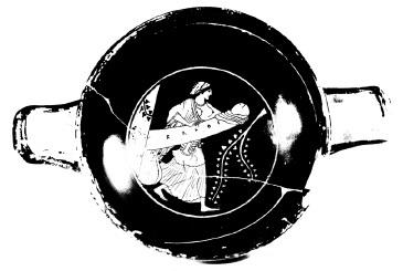 kylix attica a figure rosse da faggiano (taranto) con phallagoghia dionisiaca. secondo venticinquennio vsec. a.c. collezione privata