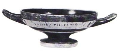 kylix attica a vernice nera con iscrizione potoria da san donato (taranto). 530-510 a.c. collezione privata
