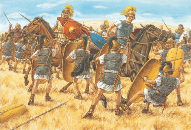 La riserva di Cesare sbaraglia la cavalleria di Pompeo. Illustrazione di Adam Hook.