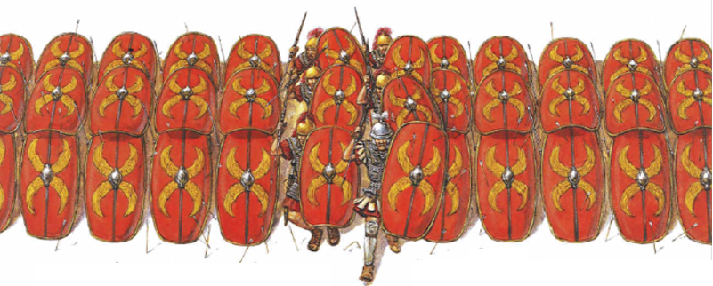 La formazione a testudo (testuggine) offriva una protezione eccellente contro le frecce e altri proiettili. Quando il nemico interrompeva il lancio, i legionari rompevano le righe e si lanciavano nel combattimento corpo a corpo. Illustrazione di Adam Hook.