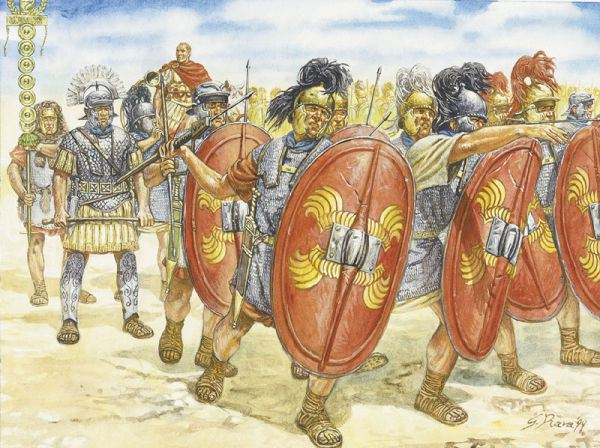 Legionari del I secolo a.C. Illustrazione di G. Rava.