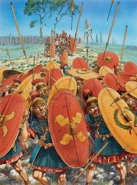 La fanteria di Pompeo tenta di sostenere l'assalto dei cesariani. Illustrazione di Peter Dennis.