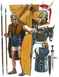 Equipaggiamento della cavalleria romana nel I secolo a.C. Illustrazione di Seán Ó' Brógáin.