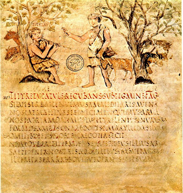 codex vaticanus lat. 3867 – vergilius romanus, f. 1r (400 ca.). eclog., i 1, vv. 1-5. titiro e melibeo.
