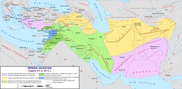 Mappa dell'Impero seleucide (II-I sec. a.C.).