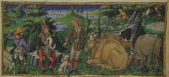 Firenze, Biblioteca Riccardiana. Ms. Ricc. 492 (XV sec.), f. 1r. La miniatura ritrae Titiro, Melibeo e altri pastori.