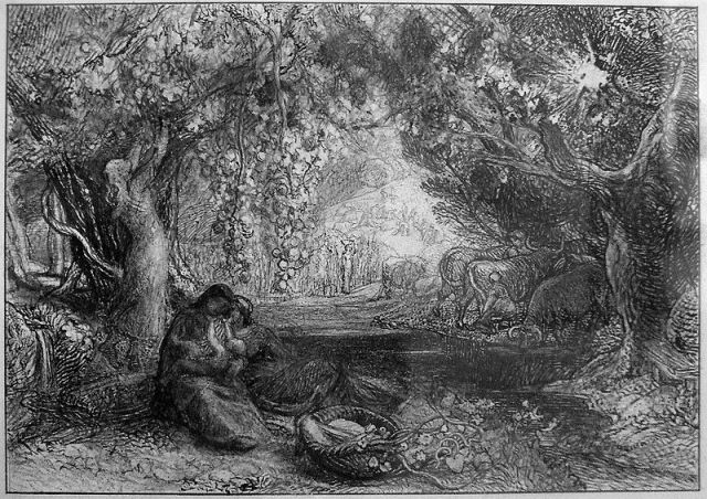 Samuel Palmer, Eclogue IV:Thy Very Cradle Quickens. Disegno a matita, 1876.