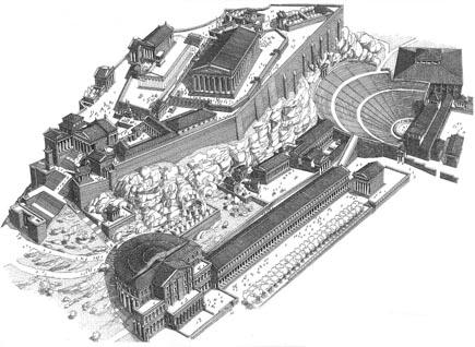 Atene. Acropoli, ricostruzione grafica degli edifici principali (disegno di F. Corni)