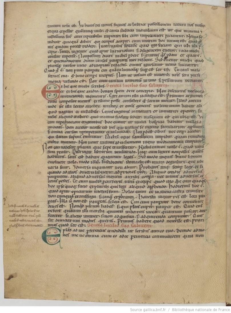 Pagina dal codice manoscritto Ms Colbertinus Latinus 8541 (XIII sec.), f. 2v, della Bibliothéque nationale de France (Paris), che riporta anche il testo dell'Ep. 2.