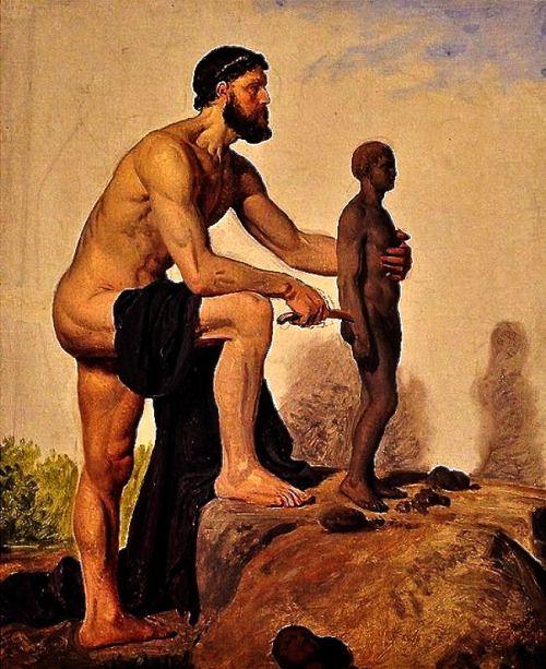Constantin Hansen, Prometeo modella l'uomo dall'argilla. Olio su tela, 1845.