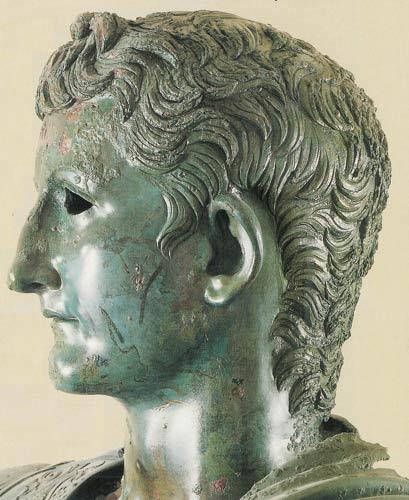 Germanico. Statua loricata (dettaglio della testa), bronzo, I sec. d.C. Amelia, Museo civico.