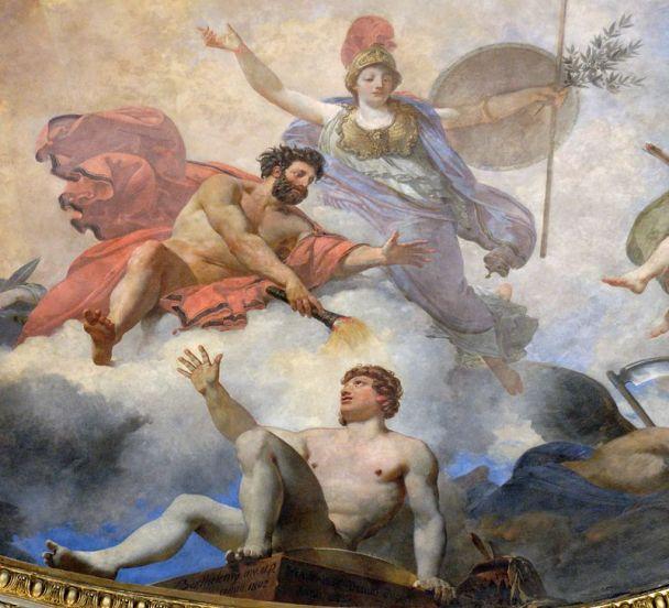 J.-S. Berthélemy e J.-B. Mauzaisse, Prometeo dà vita all'uomo. Affresco, 1802. Paris, Musée du Louvre