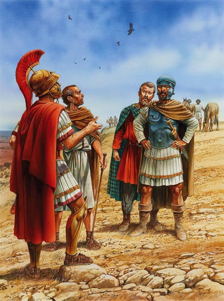 Incontro fra Scipione e Annibale, illustrazione di P. Dennis.