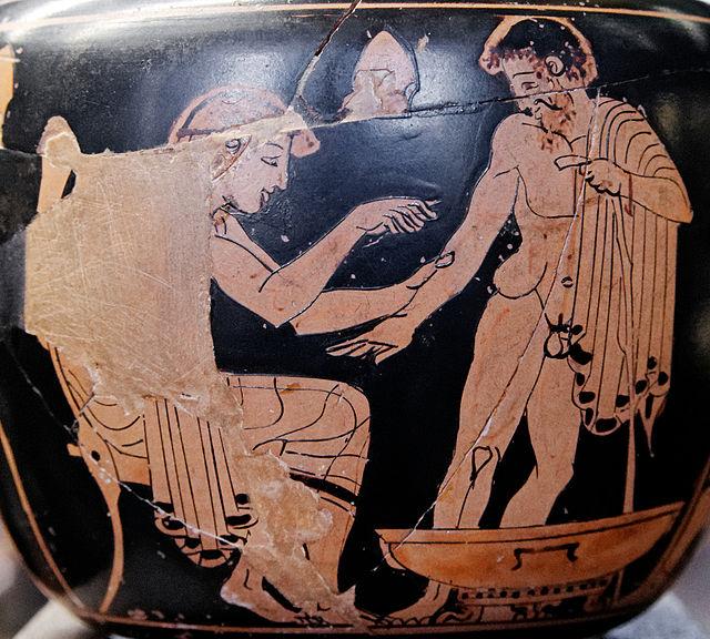Pittore della Clinica. Un medico esamina il paziente. Pittura vascolare su aryballos a figure rosse, V sec. a.C. Musée du Louvre.