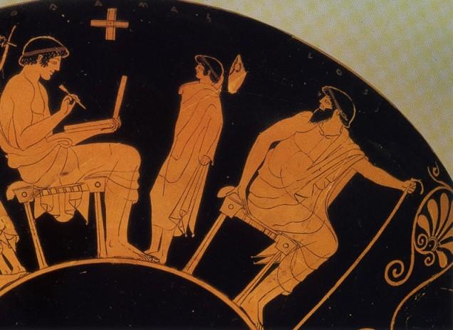 Pittore Duride. Scuola di scrittura su tavoletta con stilo. Dettaglio dal lato B di una kylix attica a figure rosse, inizi V sec. Berlin, Staatliche Museen